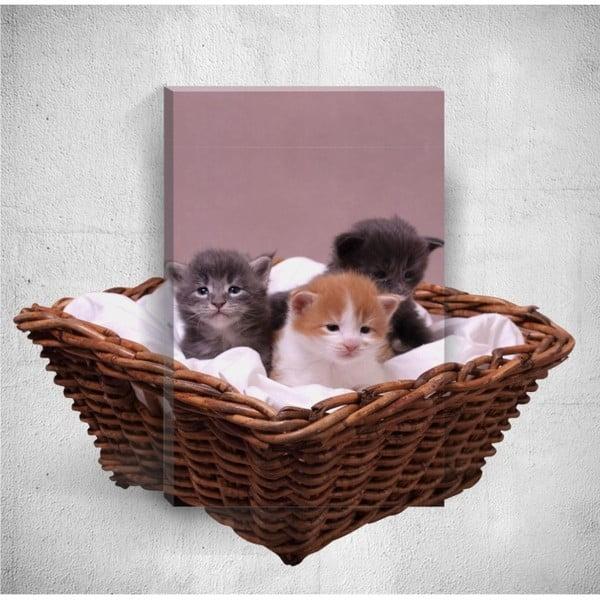 Tablou de perete 3D Mosticx Kittens, 40 x 60 cm