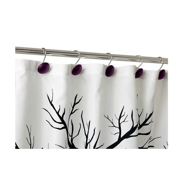 Háčky na sprchový závěs Ring Dot purple, 12 ks