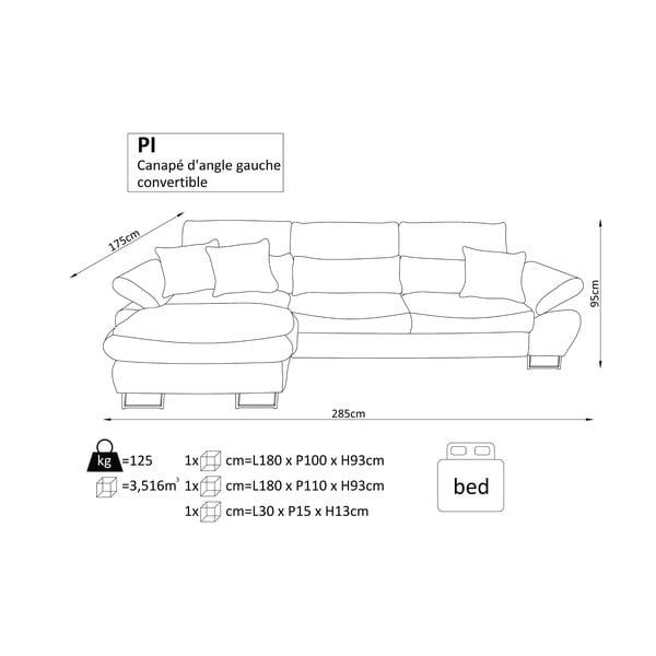 Béžová rozkládací rohová pohovka Windsor & Co Sofas Pi, pravý roh