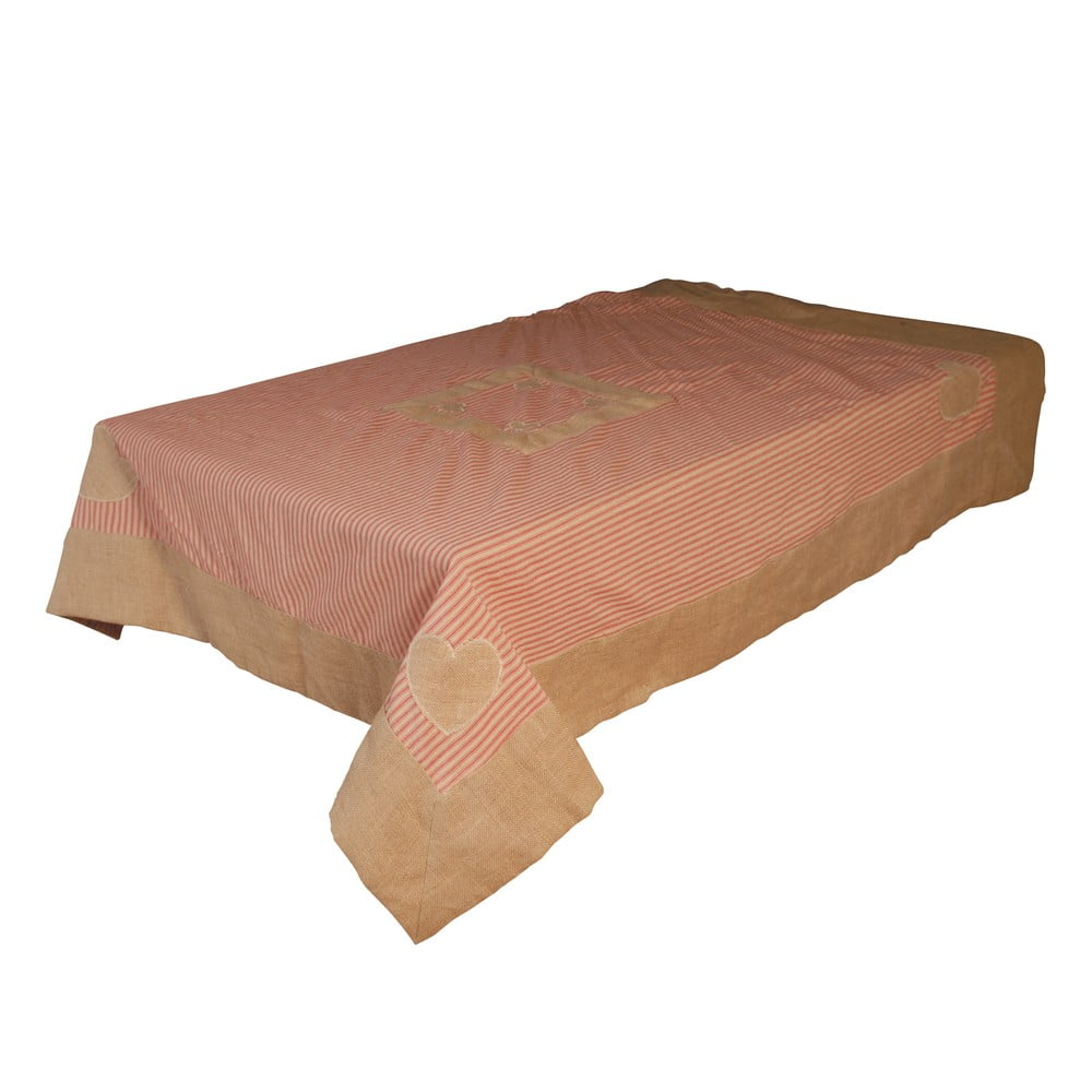 Ubrus z bavlny a lnu Antic Line Peach, 145x145 cm
