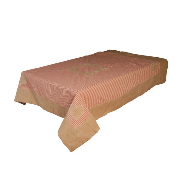 Obrus z bawełny i lnu Antic Line Peach, 145 x 145 cm