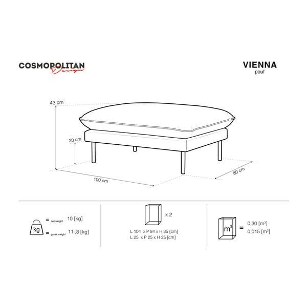 Šedá podnožka Cosmopolitan Design Vienna, 100 x 80 cm