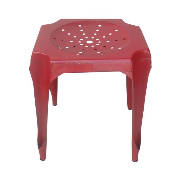 Kovový retro stolek Gion, červený