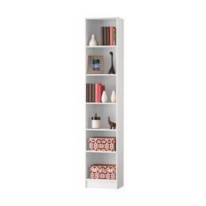 Bibliotecă îngustă cu 5 rafturi Dico, alb