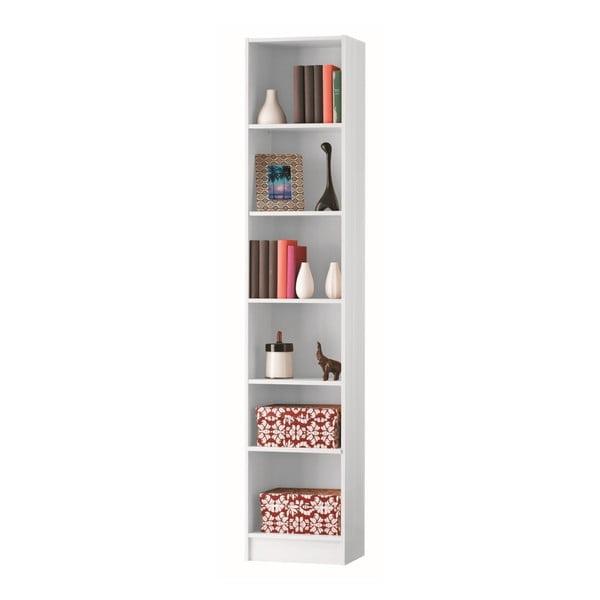 Bílá úzká knihovna s 5 policemi13Casa Dico