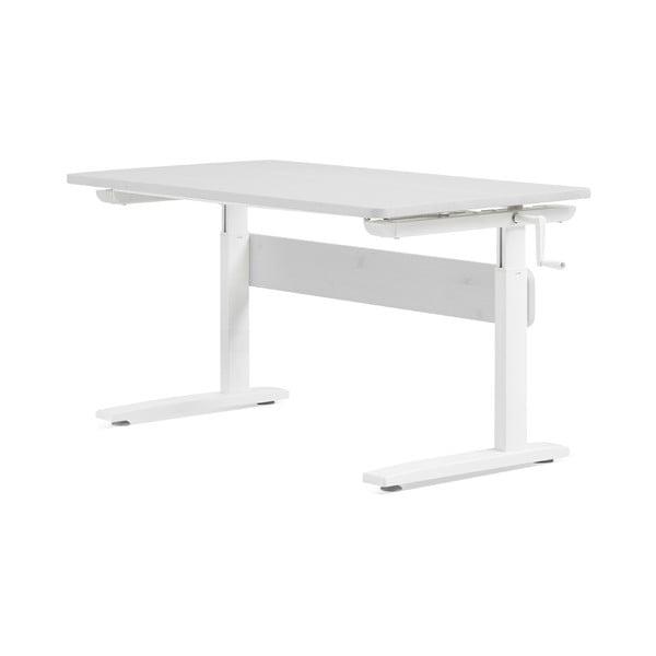 Bílý psací stůl s nastavitelnou výškou Flexa
