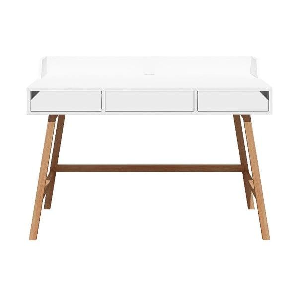 Biely detský pracovný stôl z dubového dreva BELLAMY Lotta