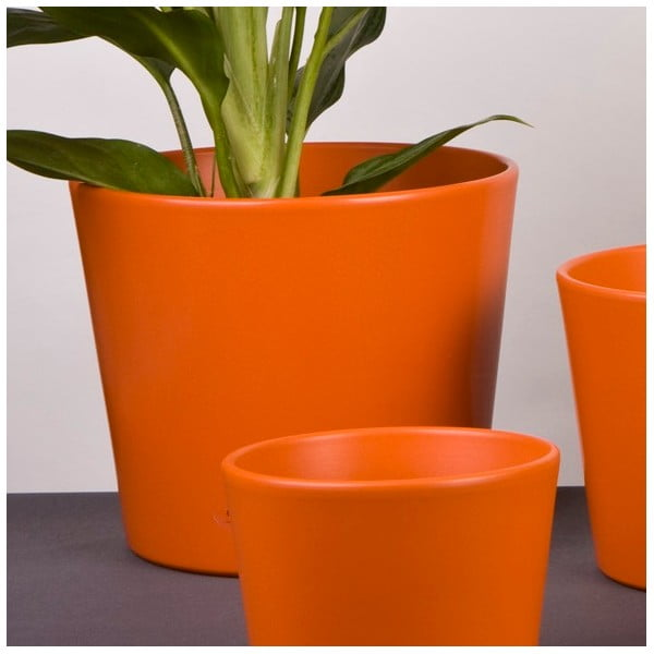Květináč Matt oranžový, 22 cm