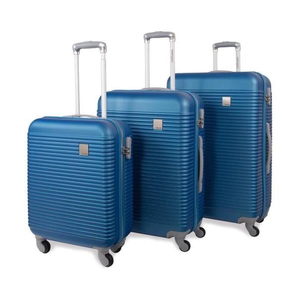 Sada tří modrých cestovních kufrů Jaslen