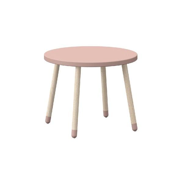 Růžový dětský stolek s nohami z jasanového dřeva Flexa Play, ø 60 cm