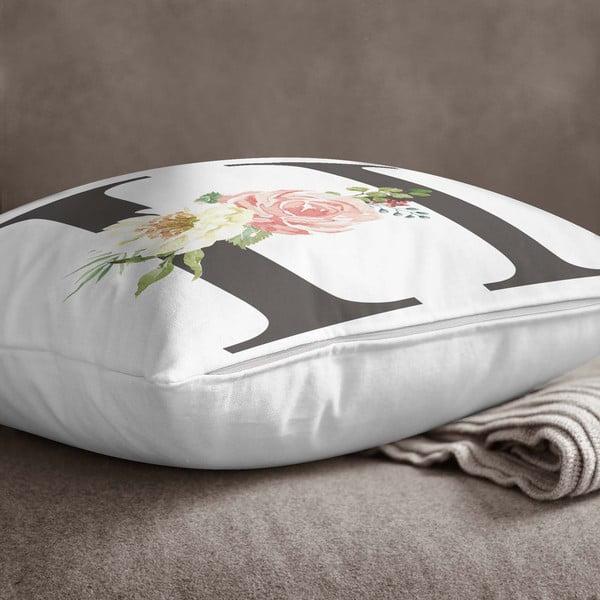 Față de pernă Minimalist Cushion Covers Floral Alphabet H, 45 x 45 cm