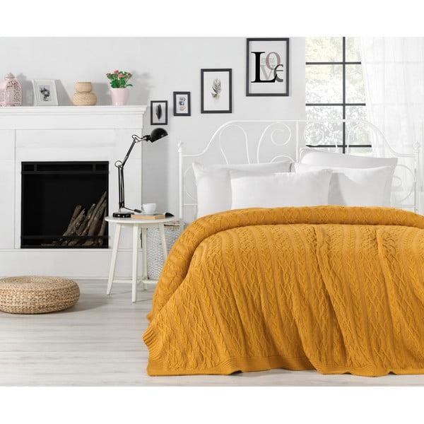 Knit mustársárga ágytakaró, 220 x 240 cm