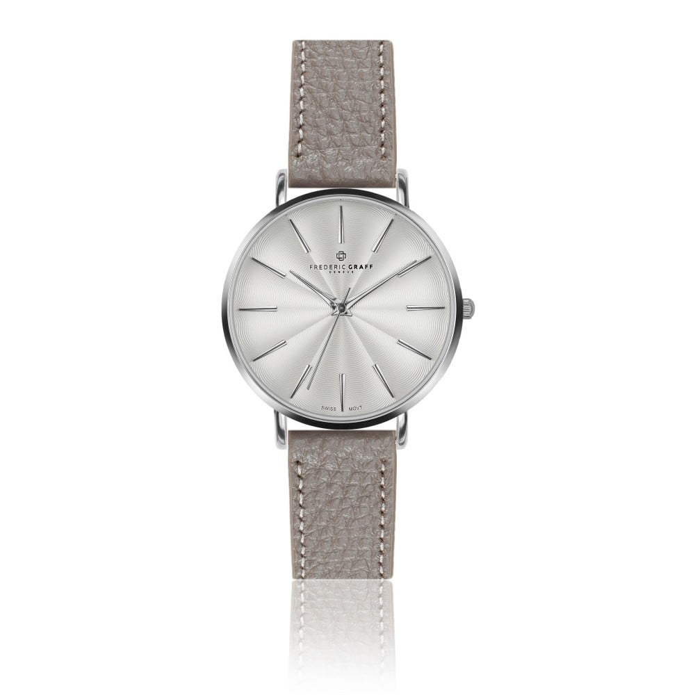 Dámské hodinky s páskem v šedé barvě z pravé kůže Frederic Graff Silver Monte Rosa Lychee Grey Leather