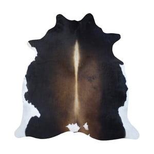 Černo-hnědý koberec z hovězí kůže, 250 x 230 cm