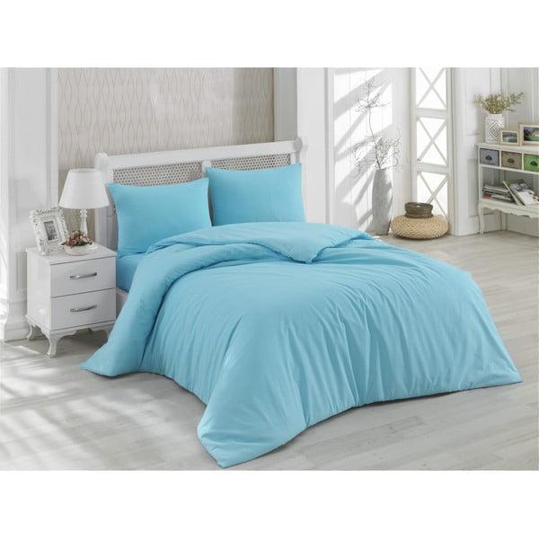 Lenjerie de pat cu cearșaf din bumbac Minimal, 200 x 220 cm, albastru
