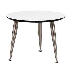 Bílý konferenční stolek s nohami ve stříbrné barvě Folke Strike, výška 40cmx∅ 56cm