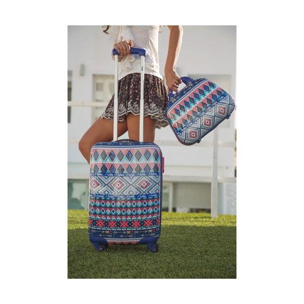 Sada 2 modrých cestovních kufrů s barevnými vzory Lois