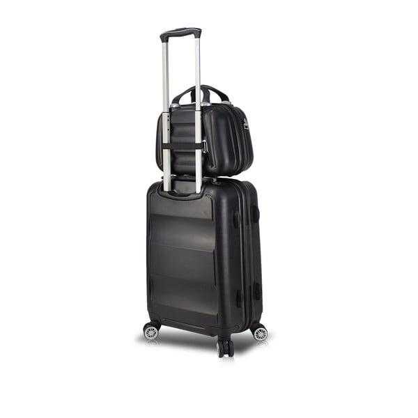 LASSO MU & Medium fekete görgős bőrönd és kézipoggyász szett USB csatlakozóval - My Valice