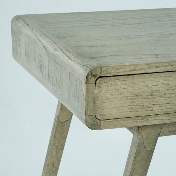Šedý pracovní stůl z lakovaného dřeva borovice Thai Natura Student, 120 x 76 cm