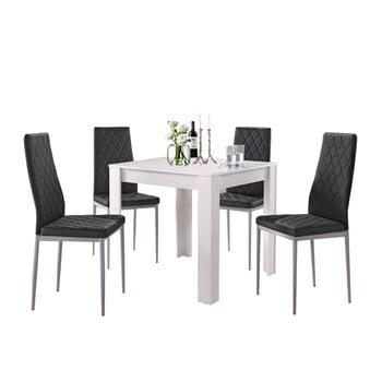 Set masă albă și 4 scaune negre Støraa Lori and Barak, 80 x 80 cm