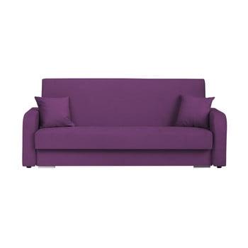 Canapea extensibilă cu 3 locuri și spațiu pentru depozitare Melart Henri, mov închis