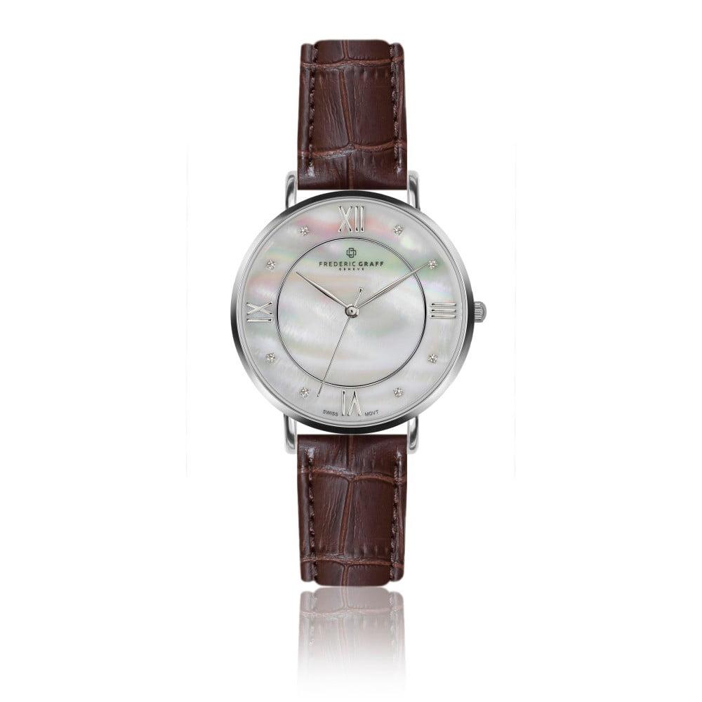 Dámské hodinky s hnědým páskem z pravé kůže Frederic Graff Silver Liskamm Croco Brown Leather