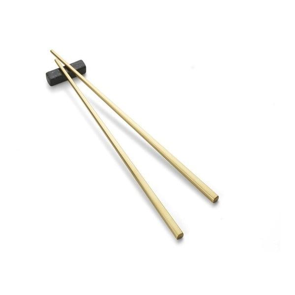 Jedálenské paličky v zlatej farbe so stojanom Bitz Brass