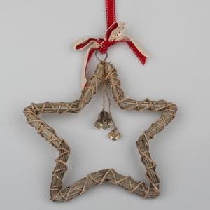 Hnědá ratanová závěsná hvězda Dakls Bell, 48 cm