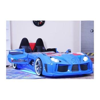 Pat în formă de automobil cu lumini LED pentru copii Racero, 90 x 190 cm, albastru de la Musvenus