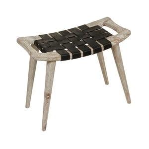 Stolička ze dřeva mindi s výpletem z hovězí kůže Santiago Pons Clear