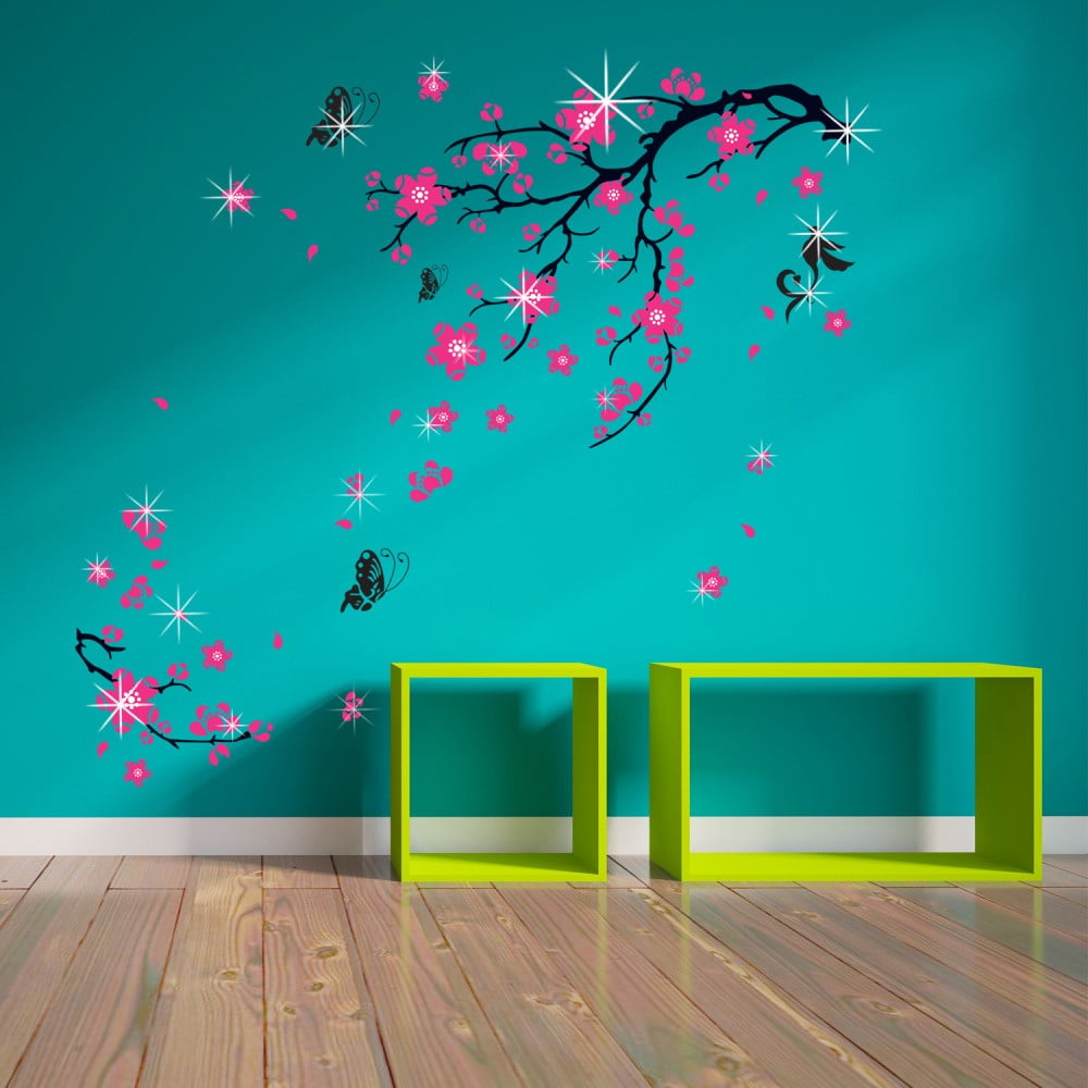 Sada 38 samolepek na zeď Walplus Pink Blossom Flowers with Swarovski Crystals
