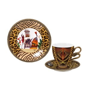 Porcelánová sada šálku, podšálku a talíře Africa