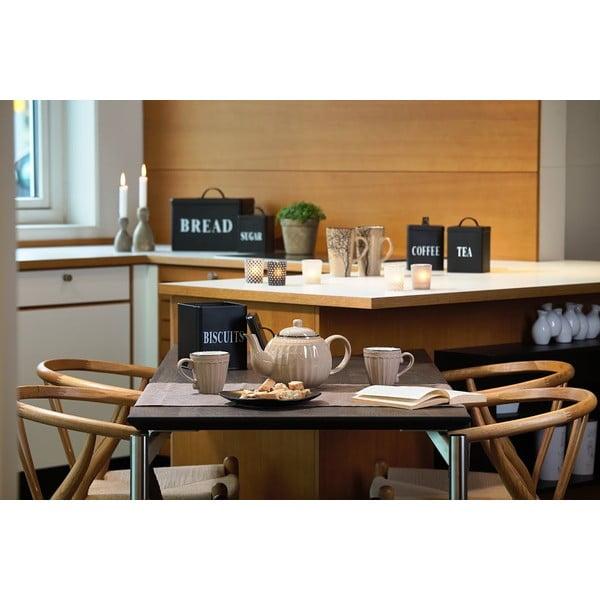 Černá plechová dóza KJ Collection Coffee, 1,5 l