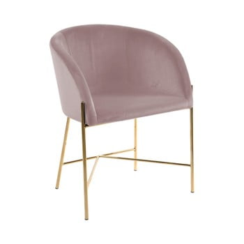Scaun Interstil Nelson, roz pastel cu picioare aurii de la Interstil