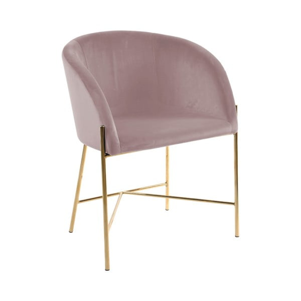 Różowe krzesło z nogami w złotym kolorze Interstil Nelson