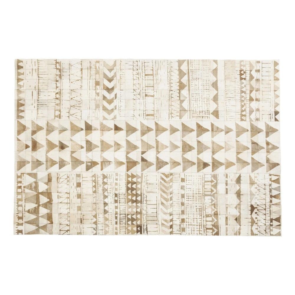 Béžový koberec z pravé hovězí kůže Kare Design Hieroglyphics, 240 x 170 cm