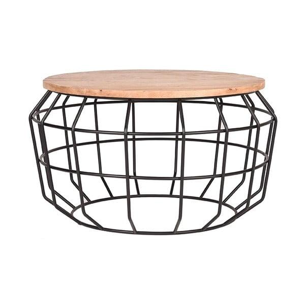 Černý odkládací stolek sdeskou zmangového dřeva LABEL51 Pixel, ⌀70cm