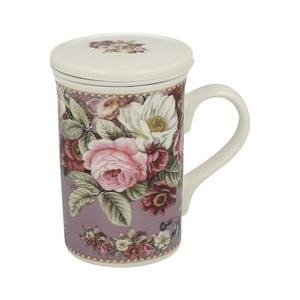 Porcelánový hrnek s filtrem s motivem květin Duo Gift Rosa, 300 ml