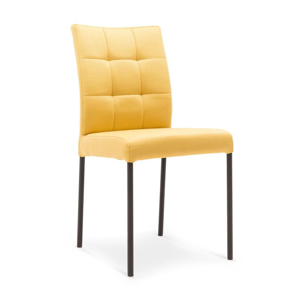 Žlutá jídelní židle s černými nohami Mossø Verto
