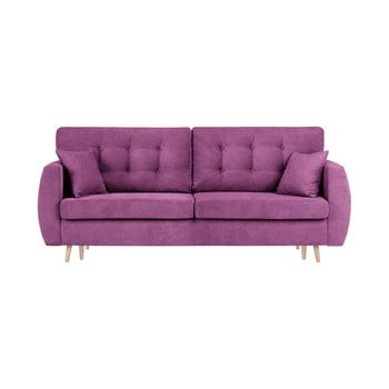 Canapea extensibilă cu 3 locuri și spațiu pentru depozitare Cosmopolitan design Amsterdam 231x98x95cm mov