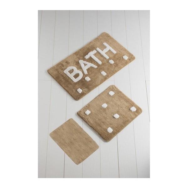 Set 3 covoare de baie Bath, maro