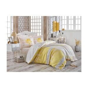 Lenjerie de pat cu cearșaf din bumbac satinat Dura, 200 x 220 cm