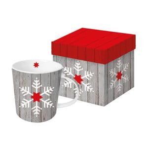 Hrnek z kostního porcelánu s vánočním motivem v dárkovém balení PPD Snowflake On Wood, 350 ml