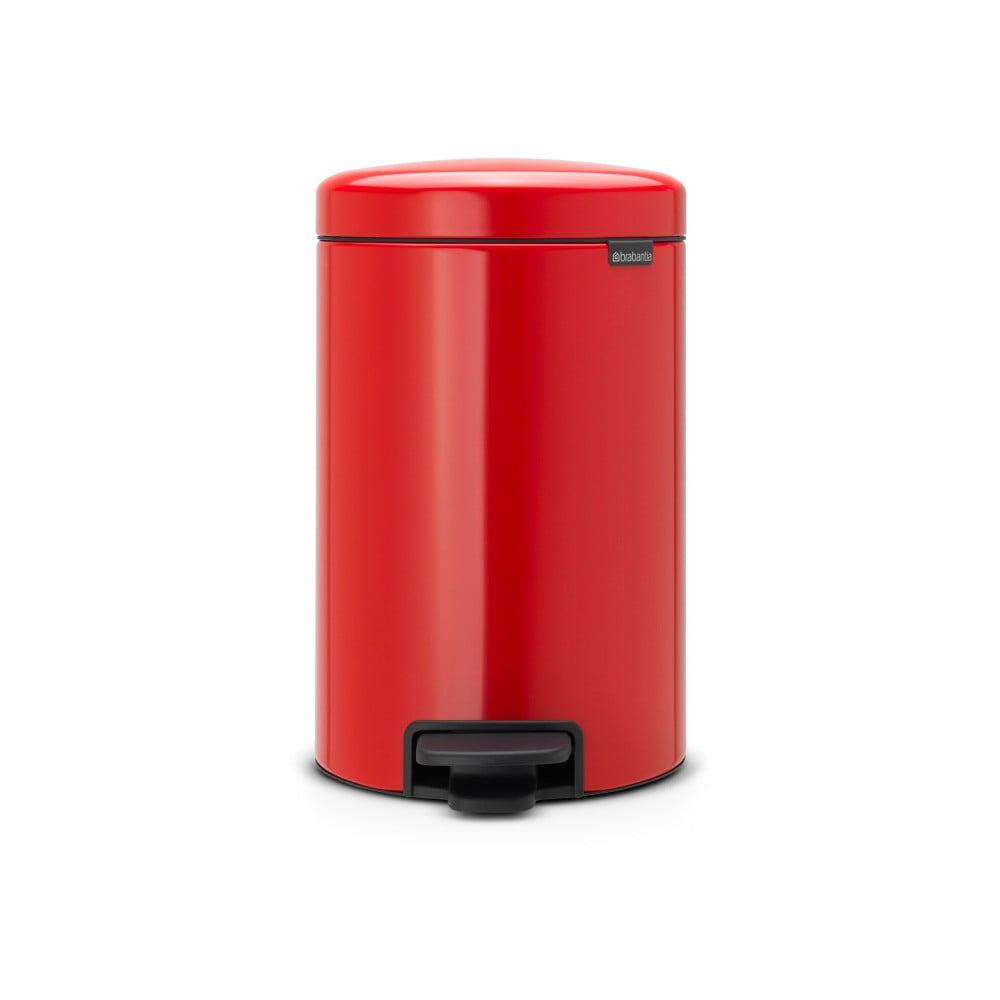 Červený pedálový odpadkový koš Brabantia Newicon, 12l