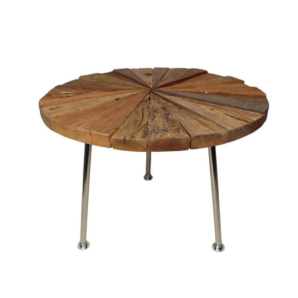 Odkládací stolek s deskou z teakového dřeva HSM collection Sun Stick, ⌀ 60 cm
