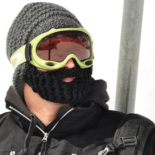 Tmavě šedá čepice s odepínatelným plnovousem Beardo Original