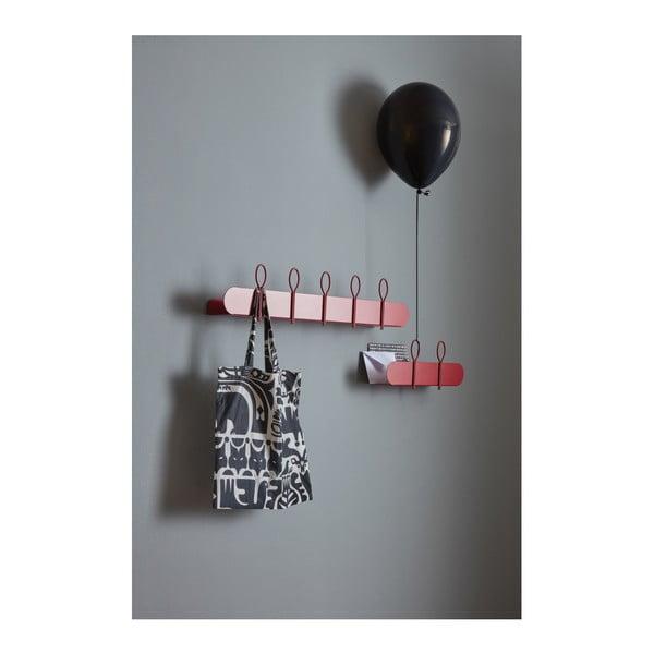 Červený nástěnný věšák se 2 háčky a poličkou MEME Design Balloon