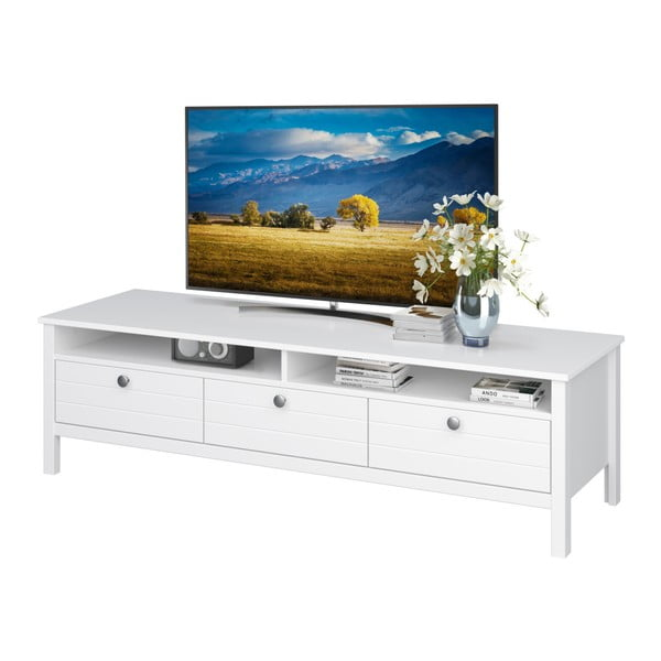 Bílý TV stolek se 3 zásuvkami Støraa Norup