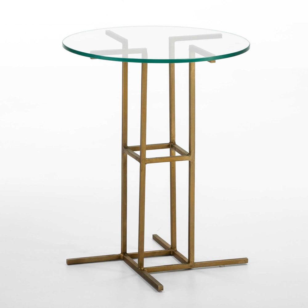 Odkládací stolek se skleněnou deskou a podnoží ve zlaté barvě Thai Natura, ∅45cm