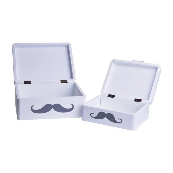 Set 2 dřevěných boxů Mustache
